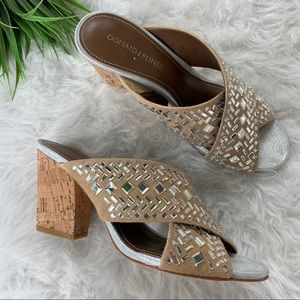 Donald Pliner suede cork heels with mirror mosaic